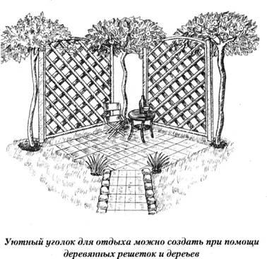 живая изгородь, уголок для отдыха
