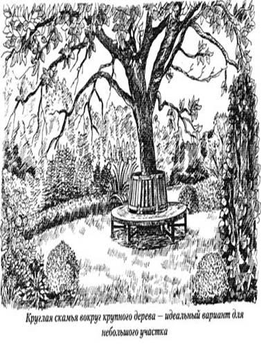 круглая скаья вокруг крупного дерева